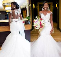 Plus Size Stunning African Mermaid Wedding Dresses Sheer Nec...