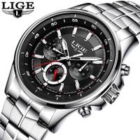 LIGE étanche Hommes Montres Top Quartz affaires Montre Homme Mode Plein acier Horloge Montres Sport Relogio Masculino