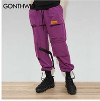 GONTHWID Hombres / Mujeres Buckle Straps Cargo Pantalones Hip Hop Multi bolsillos Baggy Harem Jogger Pantalones Casual Streetwear Pantalones