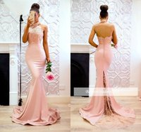 2018 Elegant Sexy Pink Halter Lace Mermaid Prom Dresses Back...