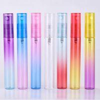 Hot 5ml 8ml mini bouteille portable de parfum en verre coloré avec Atomiseur vides Conteneurs cosmétiques pour Voyage