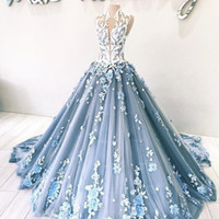 Glamorous Handmade Flowers Evening Dress Sexy High Neck Beads Lace Applique Tulle Ball Gowns Prom Dress Elegant Dubai Long Evening Gowns