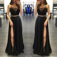 2019 Charming Sexy Black Two Pieces Prom Dresses High Sheer ...