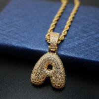 Fábrica de Fundo Preço Hip-hop CZ Bijoux A-Z Alfabeto Inglês Inicial Colar Cor de Ouro Carta de Capital Pingente de Moda Jóias DROP NAVIO