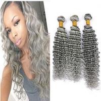 Capas de cabello humano de onda profunda gris Cabello peruano de la Virgen Armadura de cabello gris profundo rizado extensiones de trama doble 300 g / lote longitud mezclada