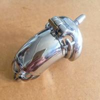 Gabbia di chiusura con catetere uretrale, anello spike, gabbie per pene, 304 dispositivi di castità maschile, acciaio inossidabile SMGCS037