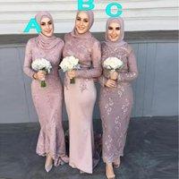 2020カスタムシースティーレングスレース国イスラム教徒の花嫁介添人ドレスエレガントな長袖安い夕方のウエディングドレス