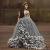 Princess Grey Flower Girl Dresses Ball Gown Handmade Flowers...