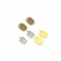 1000 unidades / lote feito com amor encantos 11 * 8 milímetros antigo prata, bronze antigo, ouro 3 cores