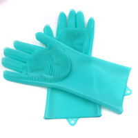 Amazon hot sale Reusable 100% silicone cleaning gloves with ...