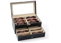 12 أجزاء قدرة قابلة للقفل نظارات مكافحة الجدول عرض مربع النظارات عرض حالة علبة مزدوجة صينية النظارات تخزين مربع
