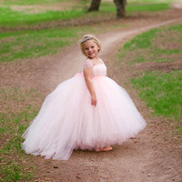 Cute Light Pink Puffy Flower Girls Dresses Square Short Capped Sleeves Pageant Gowns Back Zipper With Sashes Custom Made Birthday Gowns