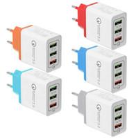 빠른 충전 벽 충전기 3 포트 USB 전화 충전기 빠른 충전 3.0 EU 미국 18W QC3.0 아이폰 5 6 7 8에 대 한 USB 어댑터 벽 충전기