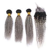 Ombre 1b серый вьющиеся волосы пучки с верхней закрытия кружева два тона серебро кудрявый вьющиеся волосы плетет с закрытием кружева 4 шт. / лот