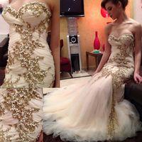 Árabe Charme Frisado Sereia Vestidos De Casamento 2018 Querida Ruched Ouro Pérolas De Cristal Sweep Trem Berta Vestidos De Noiva Vestido De Noiva