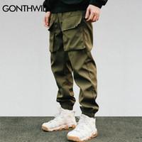 GONTHWID Pantaloni a fasce antivento da uomo 2018 Autunno Casual  multi-tasche Harem Pantaloni Hip 49958161ee90