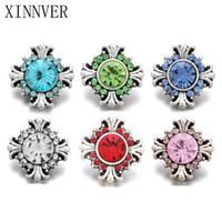 10 unids / lote 6 Color 12mm Snap Jewelry Lot Vintage Rhinestone Botones a presión de metal fit DIY 12mm Sivler Snap Pulseras Pulsera botón