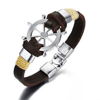 Rudder Bracelet Bangle Double Layer Genuine Leather Bracelet...