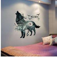 [SHIJUEHEZI] Nuevo Método de Embalaje para Lobo Cultura Pegatinas de Pared DIY Animal Wall Art para Habitaciones de los Niños Sala de estar Decoración