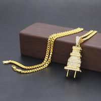 Moda para hombre Hip Hop collar de oro cubano cadena de enlace Iced Out Plug collar colgante para hombres
