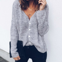Thin Autumn Knitted Sweaters Women Shirts Sexy V- neck Top Ne...