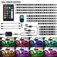 12 stücke Motorrad LED Licht Kit Streifen Multi-Color Accent Glow Neon Groundeffekt Atmosphäre Beleuchtungslampe mit drahtloser Fernbedienung