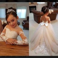 Lovely Princess Flower Girl Dresses 2018 Sweep Train Child F...
