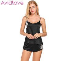 Avidlove Sexy Pyjama Women Satin Cami And Shorts Set Lace Nightgowns Comfy  Pajamas Sexy Nighties Artificial Silk Sleepwear 5fe68047f