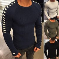 New 2018 Sweater Men S Clothing Warm Slim Knitted Striped Au...