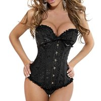 Wholesale Newest  Women Sexy Lace Up Tassel Overbust Corsets Steel Boned Floral Print Bustiers Plus Size