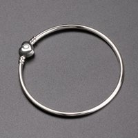 Luxury Brand Women Silver 3mm Bangle Love Heart Bracelet fit...