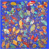 Jezioro Blue Twill Silk Scarf Kobiety Moda Kwiatowy Wentylator Wydrukowano Hidżab Kobiet Plaża Szalała Duże Foulard Square Scarves 130 * 130 cm