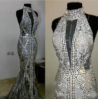 Lentejuelas de cristal de lujo con lentejuelas de cuello alto sirena increíbles largos vistes de noche formales de concurso Paguent vestidos de fiesta vestidos de noche ropa de noche para niñas