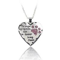 """""""больше не моя сторона, но навсегда в моем сердце"""" розовый белый серебряный Кристалл кошки собаки лапы Коготь печати сердце ожерелье"""