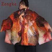 Zongke Chino Kimono Cardigan Hombres Belleza Impresión Largo Kimono Cardigan Hombres Verano Robe Roja Masculino Chaqueta Final Abrigo 2018