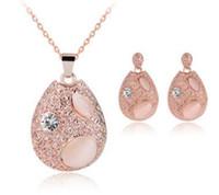 Nouveau Crystal Opal Drop Collier Collier Boucles d'oreilles Ensembles de bijoux pour Femmes Girls Fashion Bijoux Cadeau MOQ 20 Ensembles