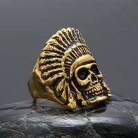 رجل الهيب هوب الذهب الدائري المجوهرات الرجعية الهندي رئيس الهيكل العظمي خمر خمر الفولاذ المقاوم للصدأ حلقات