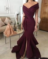 2018 New Fashion Satin Dark Red Mermaid Evening Dresses Off-...