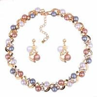 Joyas conjuntos de joyas para mujeres Pendientes de perlas Pendientes Conjuntos Joyas de boda Fashion Fashion FreeOf Envío
