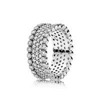 Anillo de joyería de plata de ley 925 para el anillo de fascinación de la vendimia de Pandora con los anillos de moda de moda de diamante CZ Clear con caja original