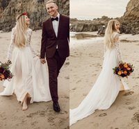 2018 Charming Beach Wedding Dresses Long Sleeve Sweep Train ...