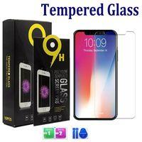 Pour iPhone 12 11 PRO Max XS MAX XR 8 7 Plus Samsung A12 A11 A31 A51 A11 A11 A11 Protecteur d'écran en verre trempé 0.33mm 2.5d 9h avec paquet de papier