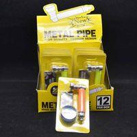 Tubulação de metal de fumar conjunto com moinho de plástico de bronze de tela de tela de exposição de tela de tabaco tubos de filtro de cigarro de mão ferramentas acessórios