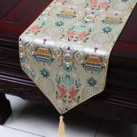 Court Long Vintage chinois brocart de soie de Table Mode Table à manger Tapis Thé Table tissu rectangulaire 150x33 cm Mat Set de table