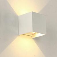 LED 6W 12W الجدار في الهواء الطلق ضوء الشمعدان حتى أسفل IP65 للماء أبيض أسود الحديثة مصباح الجدار مصباح 220V 110V الخارجي الإنارة الرئيسية