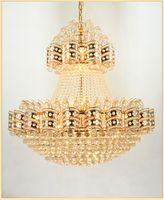 Salon de style européen grand lustre villa de luxe lobby hôtel penthouse lampadaire cristal lampe lustre moderne simple