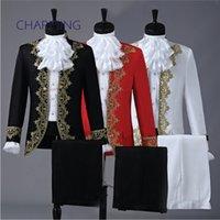 Prom tux aluguer Retro estilo Europeu ouro design palácio palco drama desempenho roupas dos homens vestido de anfitrião smoking desgaste formal para homens