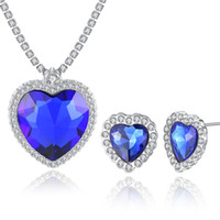 OL Trendy Jewelry Set White Gold Plated AAA Crystal Blue Occ...