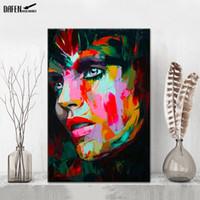 흡연 소녀 팔레트 칼 그림 그림 손으로 그린 캔버스에 기름을 그림 홈 거실 바 벽 장식
