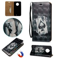 3D Relief Painting Leather Card Pocket Flip Phone Case For M...